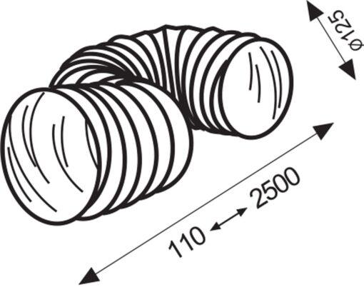 Slang flexibel pvc/wit Ø 125 mm 2,5 meter