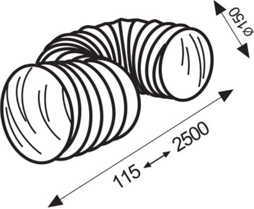Slang flexibel pvc/wit Ø 150 mm 2,5 meter