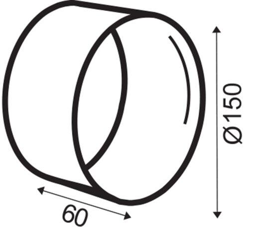 Rondkanaal Ø 150 mm verbinder voor slang