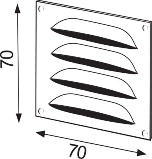 Schoepenrooster aluminium bronskleurig 70×70 mm