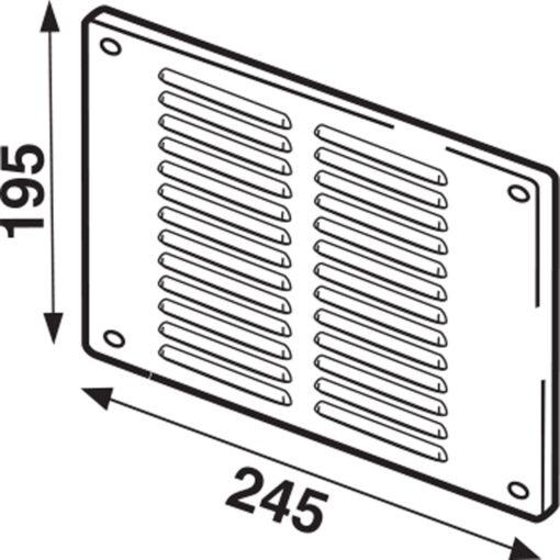 Schoepenrooster met vliegengaas aluminium wit 245×195 mm