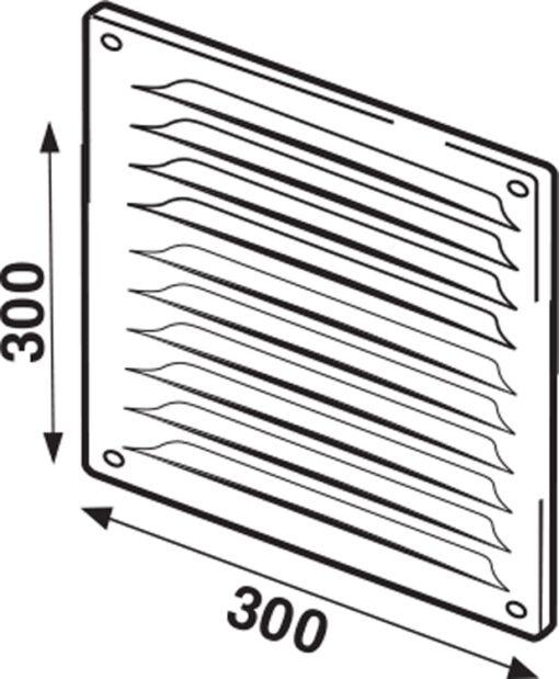 Schoepenrooster met vliegengaas aluminium wit 300×300 mm