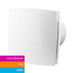 Badkamerventilator met vochtsensor en timer 150 mm Silent – wit