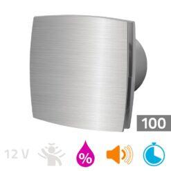 Badkamerventilator vochtsensor/timer 100mm aluminium Silent