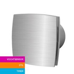 Badkamerventilator met vochtsensor en timer 100 mm Silent – aluminium