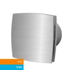 Badkamerventilator met timer 100 mm Silent – aluminium