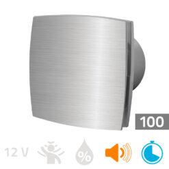 Badkamerventilator timer 100mm aluminium Silent
