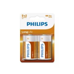 Batterij Philips Longlife D 2 stuks
