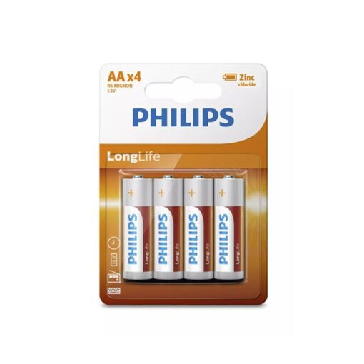 Batterij Philips Longlife AA 4 stuks