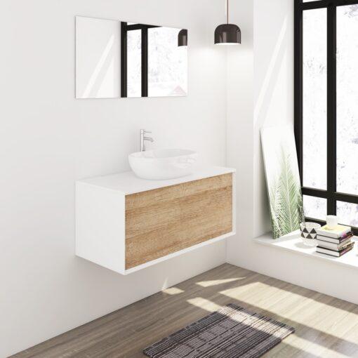 Badmeubelset 100 cm wit/eiken met keramische waskom en spiegel