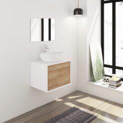 Badmeubelset 60 cm wit/eiken met keramische waskom en spiegel