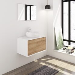 Badmeubelset 80 cm wit/eiken met keramische waskom en spiegel