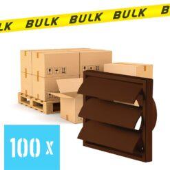 BULK 100 x Rooster met lamellen bruin 155×155 mm Ø100 mm
