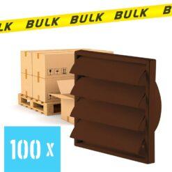 BULK 100x Rooster met lamellen bruin 187×187 mm Ø125 mm