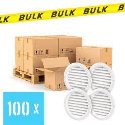 BULK 100x Rooster rond kunststof wit 59×47 mm 4 stuks