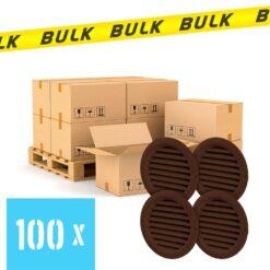 BULK 100x Rooster rond kunststof bruin 59×47 mm 4 stuks