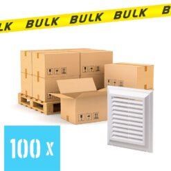 BULK 100x Rooster kunststof met vliegengaas wit 140×140 mm