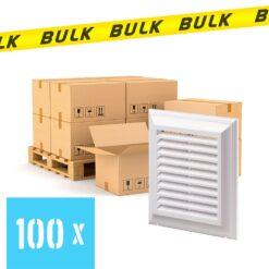 BULK 100x Rooster kunststof met vliegengaas wit 185×185 mm