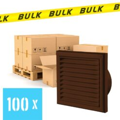 BULK 100x Rooster kunststof met vliegengaas bruin 154×154 mm voor Ø100 mm
