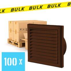 BULK 100x Rooster kunststof met vliegengaas bruin 186×186 mm voor Ø125 mm