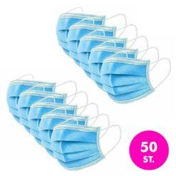 Mondkapje 3 lagen met rubberen banden – 50 stuks